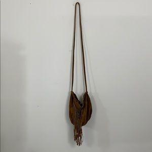 fringe beaded suede cross body bag